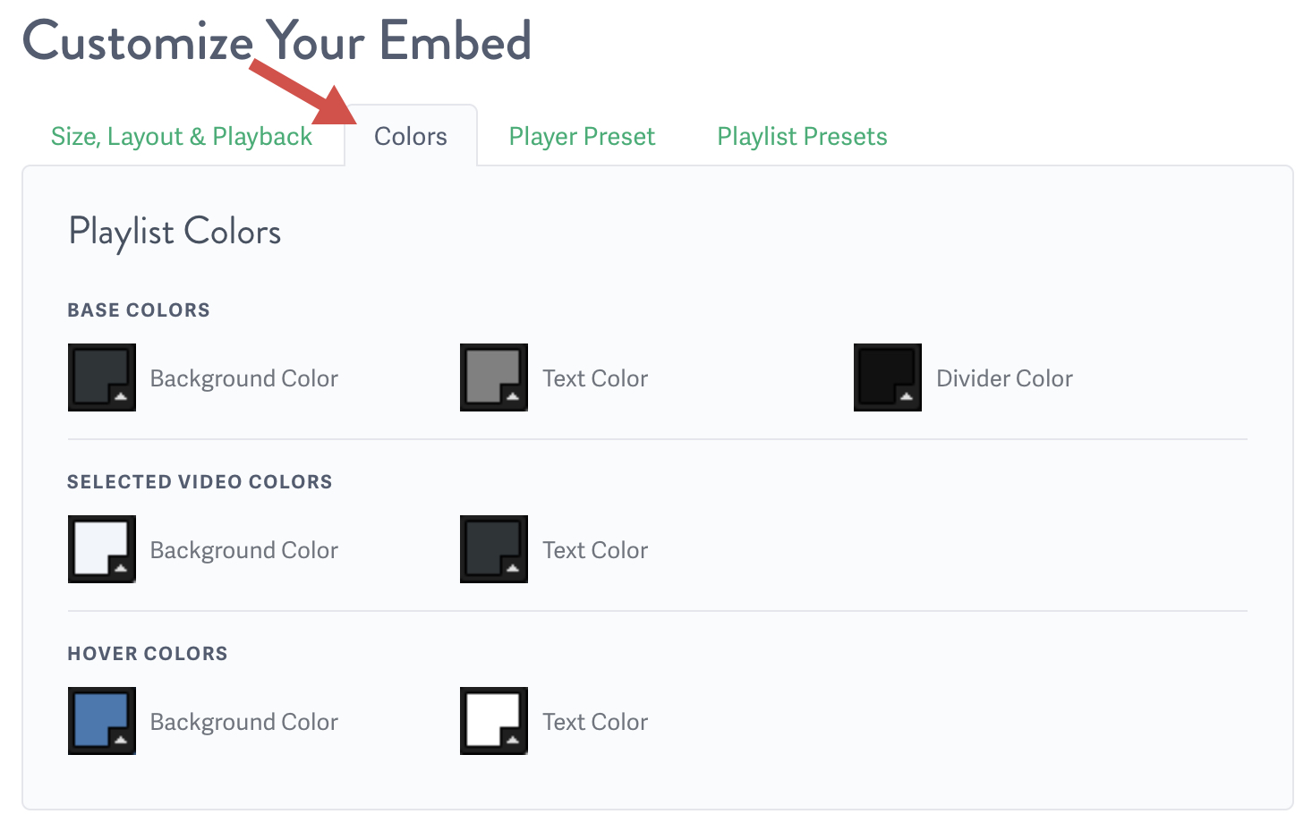 select the playlist colors