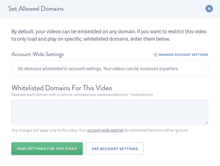 Enabled allowed domains for video hosted on SproutVideo