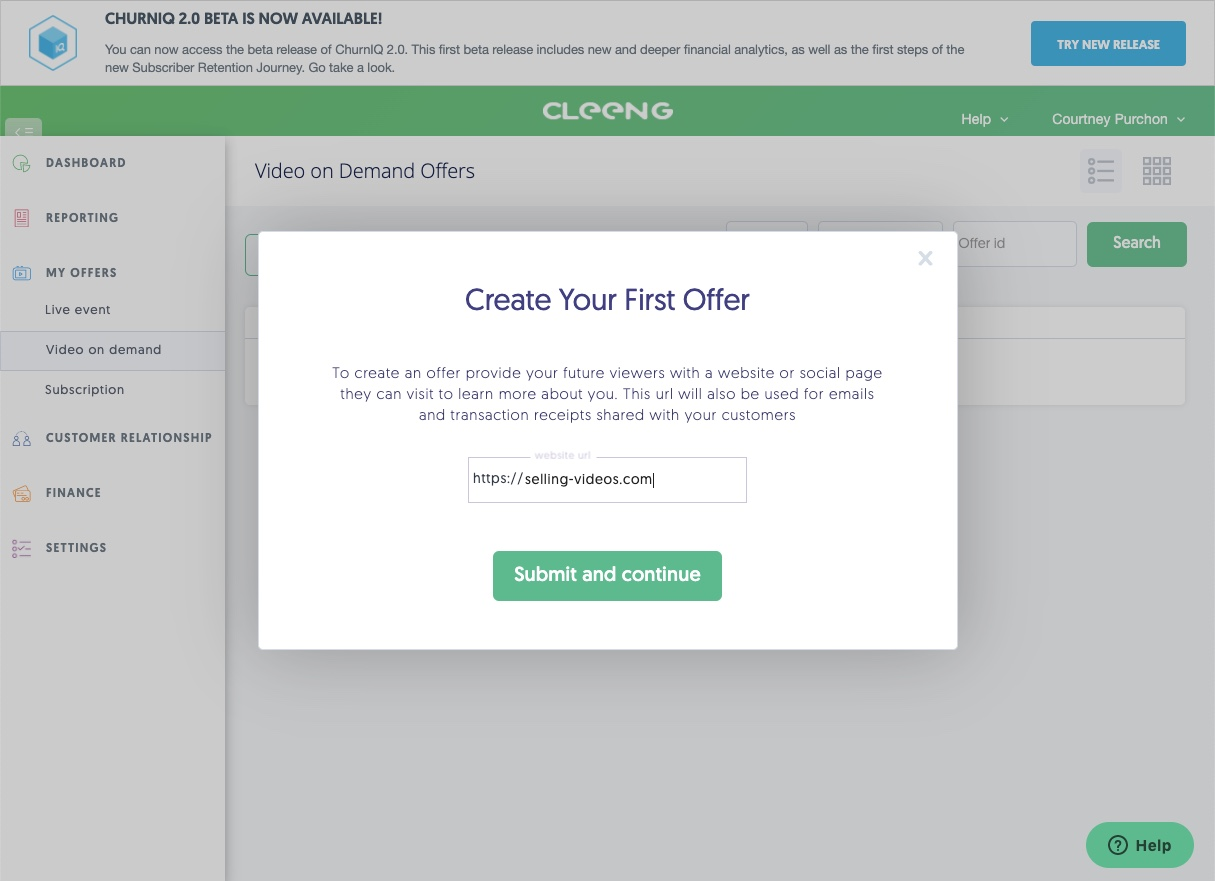 create an offer with Cleeng