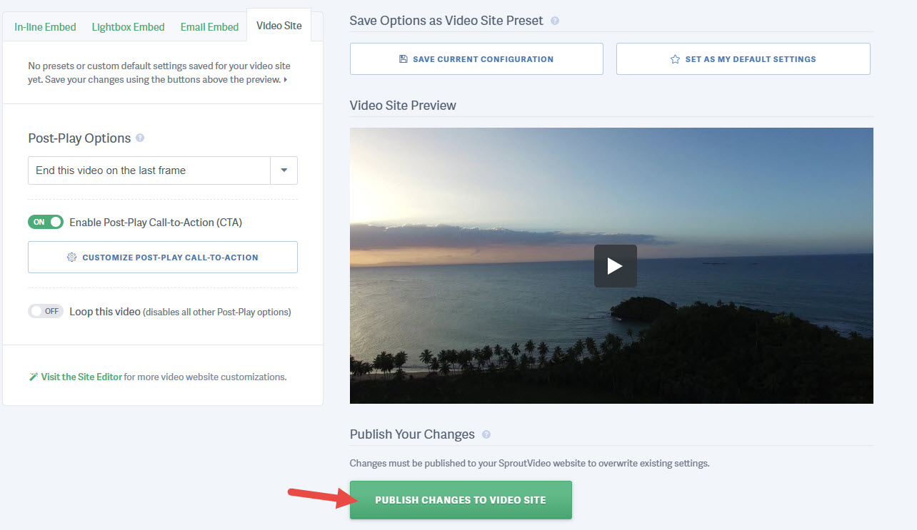Publish Post-Play screen to your Video Website