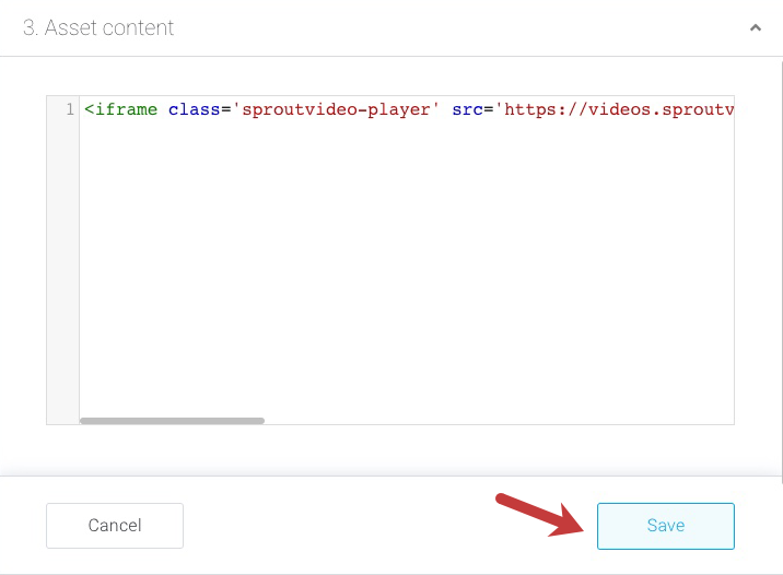 Add the SproutVideo embed code to the InPlayer asset
