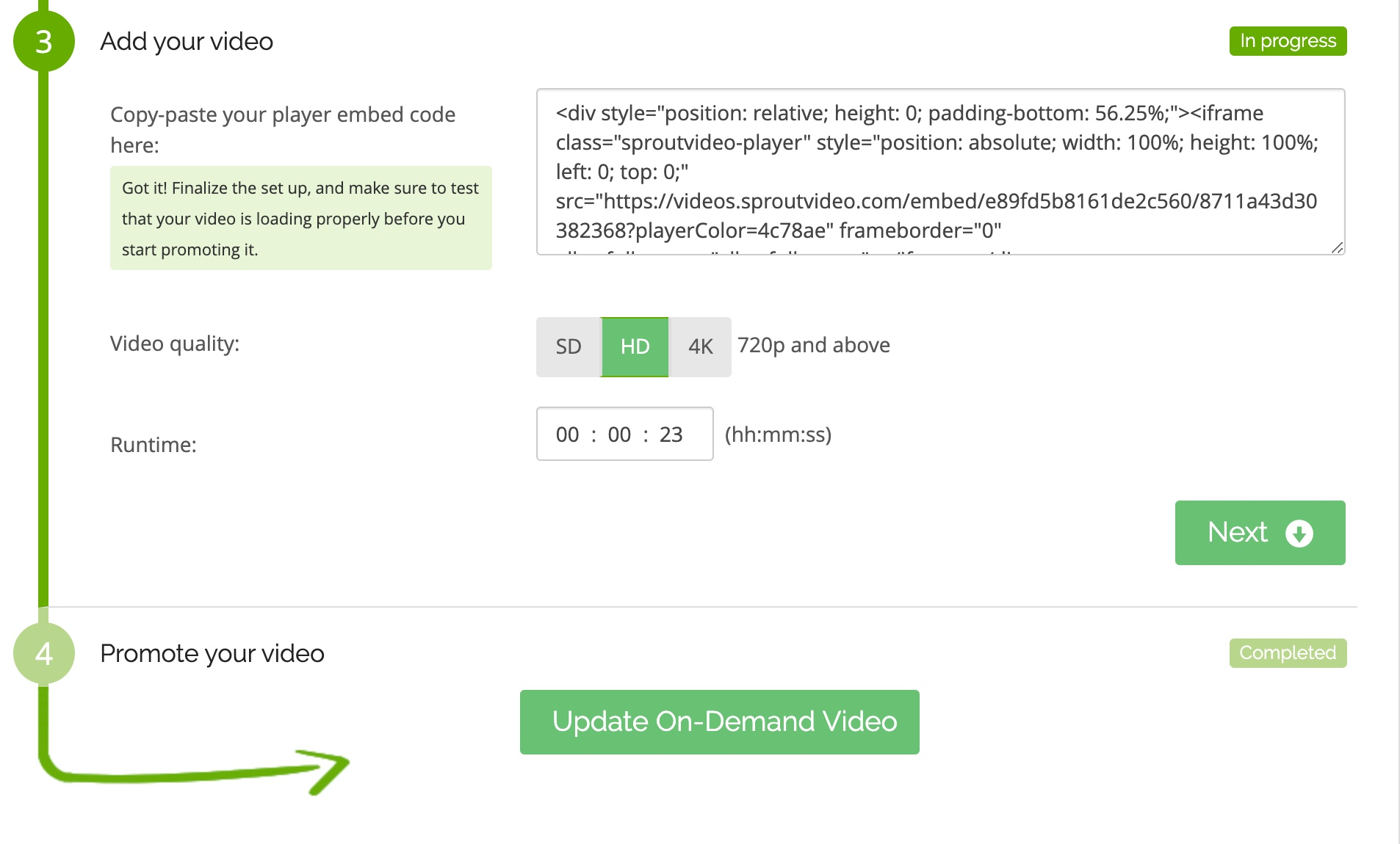 add video embed code to Cleeng