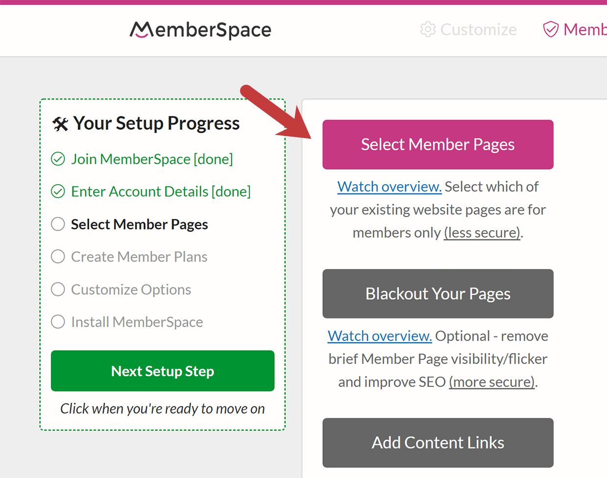 select pages to protect with MemberSpace