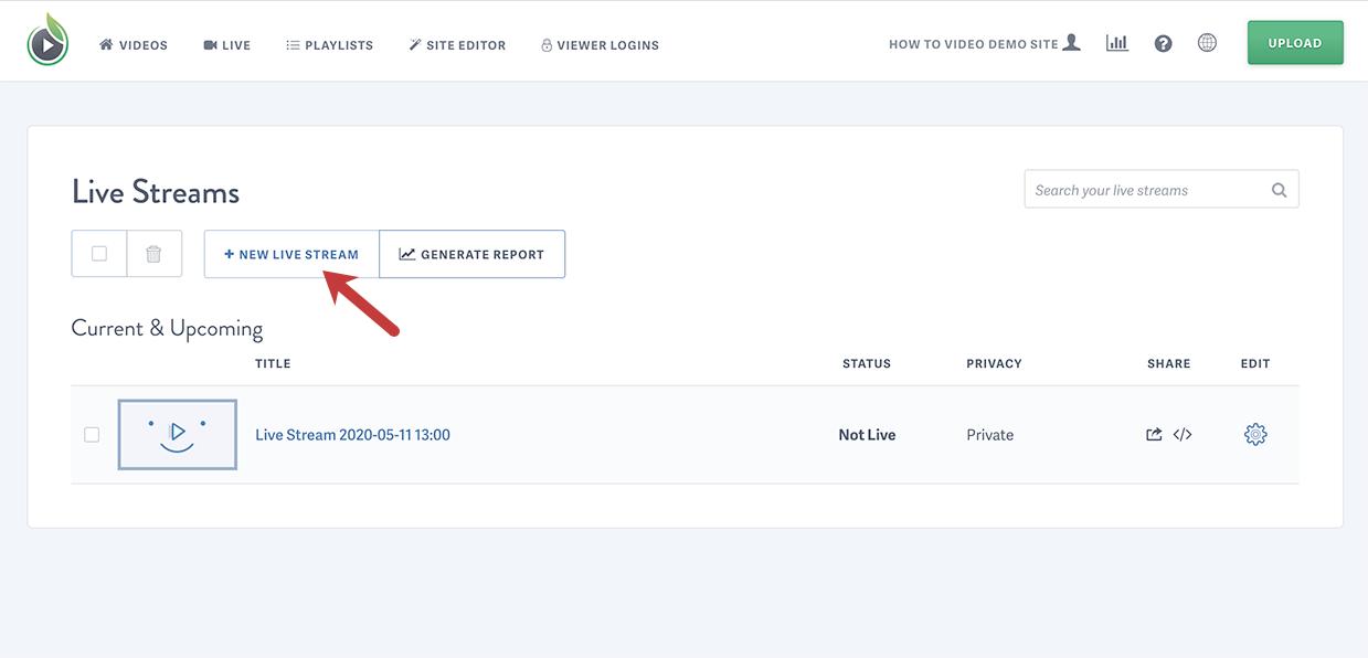 Click New Live Stream button